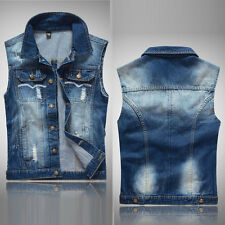 Cowboy Vest Denim Waistcoat Men's Boys Sleeveless Coat Jacket Casual Jeans M-2XL