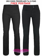 BLACK SCHOOL TROUSERS GIRLS KIDS AGE 7-16 QUALITY STRETCH SCHOOL TROUSERS PANTS.