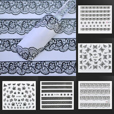 Stylish 3D Lace Nail Art Stickers Flower Manicure Decal Tips DIY Decoration Tool
