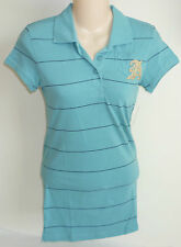 Womens AEROPOSTALE Blue Striped Jersey Polo Shirt size S NWT #8702