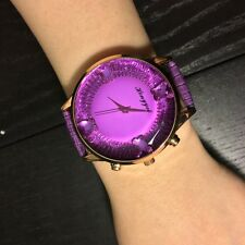 New Womens Girls Round Crystal Dial Quartz Analog Leather Bracelet Wrist Watch