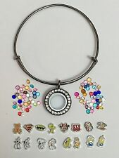 Floating Charm Locket Wire Bangle Bracelet with your choice of charms