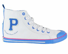 Pineapple Fever Girls/Womens UK 3 & 6 White/Blue Hi Top Canvas Lace Up Trainers