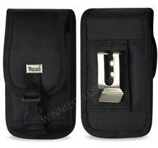 REIKO Canvas Rugged Vertical Metal Belt Clip Case with Buckle for ZTE Cell Phone