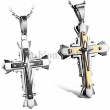 Men's Stainless Steel Three Stereoscopic Cross Pendant Necklace Chain for Gift