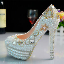 Handmade Pearl White Heart Wedding Ball Club Shoe High Heels Evening Party O