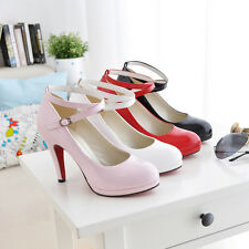Fashion Women's Buckle Strap Pumps Sexy High Heel Platform Round Toes Shoes S083