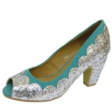 WOMENS DOLCIS TURQUOISE SILVER PEEPTOE SEQUIN DANCE PARTY COURT SHOES SIZE 3-8