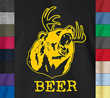 Deer Bear BEER Funny Drinking Party Hunting TV Soft Ringspun Cotton T-Shirt a