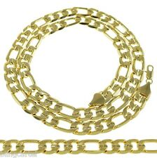 "Figaro Chain Diamond-Cut 14k Gold Plated 24"" & 30"" 10 mm 12mm Hip Hop Necklace"