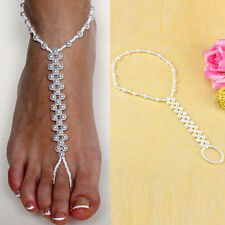Pair of Pearl and White Beads Barefoot Beach Sandals Wedding Anklet Toe Jewelry