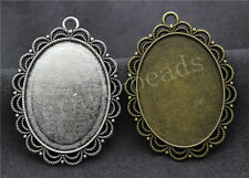 6/30pcs Tibetan Silver Cameo Cabochon Lace Base Setting Jewelry Charms 54x40mm