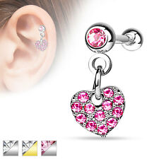 Surgical Steel Ear Cartilage Tragus Barbell Stud with CZ Heart Dangle on Crystal