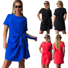 Women's Short Sleeve Formal Evening Party Shift OL Fashion Plus Size Belt Dress