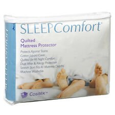 Sleep Comfort Cotton Cover Quilted Mattress Protector All Sizes Fully Fitted