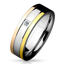 Triple Tone IP Grooved Single CZ Center Band Stainless Steel Couple Ring