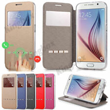 Smart View Window Flip PU Leather Wallet Case Stand Cover For Samsung & iPhone