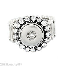 Wholesale Lots Adjustable Rings Fit Mini Snap Button size 7.5 Rhinestone