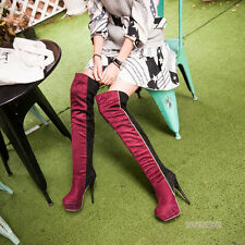 Womens Over Knee Pull On Platform Boots Stiletto High Heels Shoes US Size Y1489