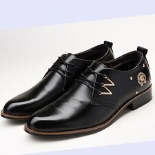 New Men's Casual Pointed Leather Lace Up Wedding Formal Dress Oxfords Shoes T19