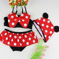 Child Toddler Baby Girl Swimsuit Kids Minnie Mouse Swimming Party Costume + Hat