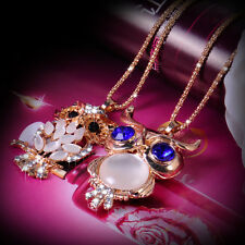 Fashion Charm Rhinestone Crystal Owl Pendant Necklace Long Chain Sweater Jewelry