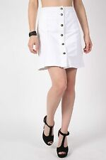 PILOT® Patch Pocket Button Front Mini Skirt in White