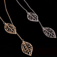 Gold/Silver Family Double Leaf Cute Chain Crystal Necklace Charm Pendant CFK