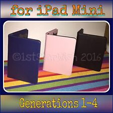 PINK NAVY BLUE OR BLACK PU Leather FOLIO Case Cover for iPAD MINI Gen 1-4