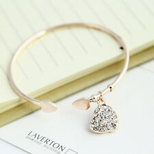 Popular Gold Silver Love Heart Rhinestone Pendant Open Bangle Bracelet Girl Gift
