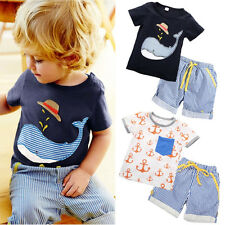 New Baby Kids Boys Summer Short Sleeve Tops T-shirt Shorts Outfits Age 1-7Y