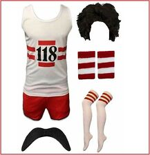 118 118 FANCY DRESS WOMENS COSTUME MARATHON RETRO VEST SHORTS WIG HENNIGHT SET
