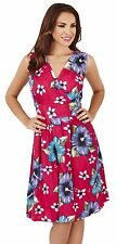 Ladies Mixed Floral Print Knee Length Wrap Over V Neck Sun Dress, Pink
