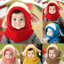 Winter Beanie Baby Kids Boy&Girl Warm Hat Hooded Scarf Earflap Knitted Wool Cap