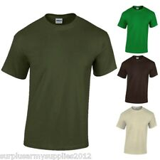 ARMY CADET T-SHIRT 100% COTTON GILDAN MILITARY GREEN OLIVE BROWN TSHIRT BOYS TOP