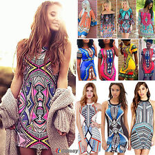 Womens Sexy Boho Aztec Bodycon Dress Mini Short Shift  Summer Dresses Cocktail