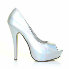 KYLIE Holographic Silver Platform Peep Toe Stiletto High Heel Court Shoes