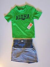 NWT Carters Toddler Boys Rash Guard Set 2 Pc Green Aloha Swim Shorts Trunks