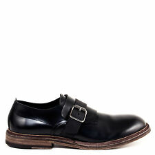 Pantanetti Frank Single Monk Strap Black Men's Dress Shoes Hand Made in Italy