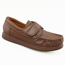 Ladies Womens New Tan Softie Leather Velcro Touch Fastening Comfort Bowling Shoe