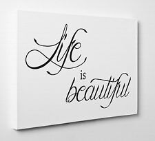 Life is Beautiful Quote Photo Canvas Print Wall Art Ready to Hang Large A1 A2 A3