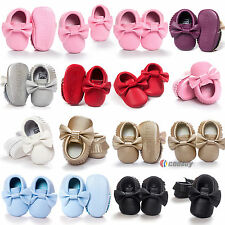 Baby Boy Girl Trainers Faux Leather Bow Newborn Infant Toddler Shoes 0-24Months