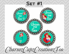 Bottle Cap Magnets/Set of 5/Disney Little Mermaid Inspired/Packaged/Ariel/#2