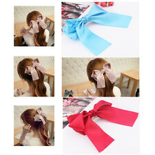 1Pc Stylish Women Girls Satin Ribbon Bow Hair Clips Barrette Ponytail Holder