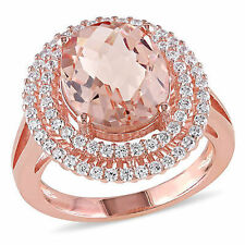 Rose Pink Sterling Silver Simulated Morganite and Cubic Zirconia Ring