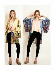 Lady floral tile wildwood print oversize cardigan kimono sleeves jacket blue