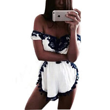 Sexy Women Summer Shoulder Off Lace Up Rompers Short Jumpsuit Overalls Playsuits