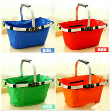 New Collapsible Folding Picnic Shopping Basket Tote Bag Waterproof Canvas Basket