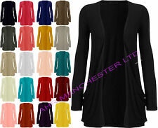 WOMEN'S LADIES LONG SLEEVE BOYFRIEND CARDIGAN TOP OPEN POCKET CARDIGAN SIZE 8-26