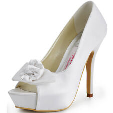 EP11091 Peep Toe Flower Party Pump Platform High Heels Prom Satin Bridal Shoes